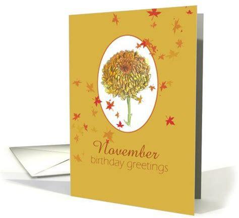 November Birthday Cards Happy November Birthday Greetings Yellow Chrysanthemum