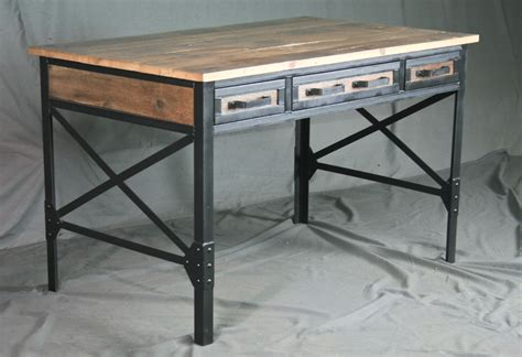 reclaimed wood desk with drawers combine 9 industrial furniture vintage style