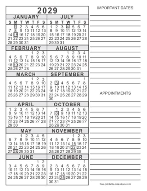 printable yearly calendar with notes 2029 free printable calendars free printable calendars