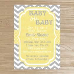 baby shower invitation grey and yellow baby shower invitation pri