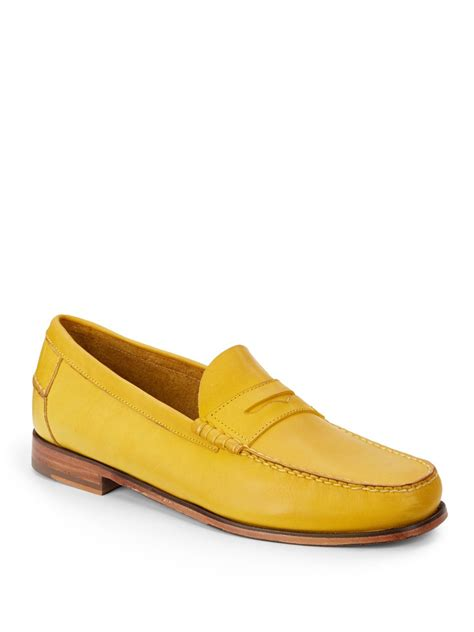 yellow loafers florsheim by duckie brown leather loafers in yellow