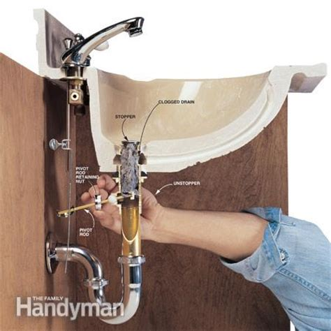how to clear a bathroom sink drain how to clear clogged drains the family handyman