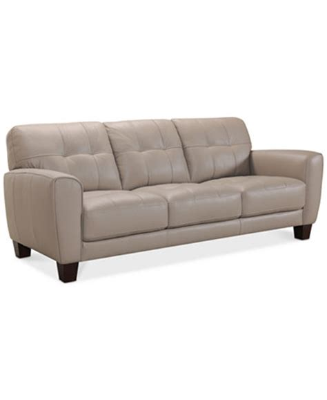 Kaleb 84 Quot Tufted Leather Sofa Created For Macy S Macys Tufted Sofa