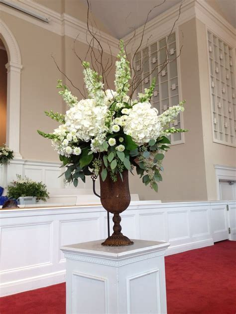Church Decorations For Wedding   White flower arrang