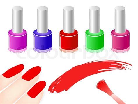 Colour Box Nail multicolored nail bottles near nails and brush