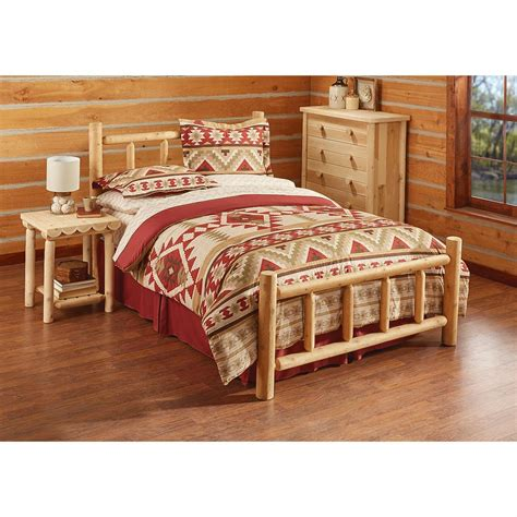 queen log bed castlecreek cedar log bed queen 235869 bedroom sets at