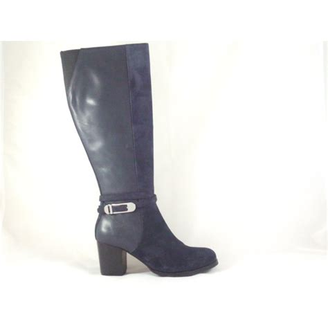 vanilla moon santa fe navy leather and suede knee high