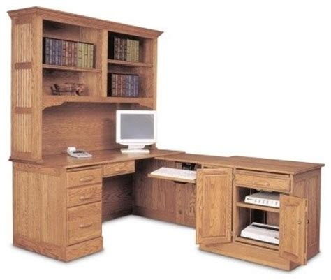 L Shaped Desk Hutch Haugen Oak L Shaped Computer Desk With Optional Hutch Modern Desks By Hayneedle