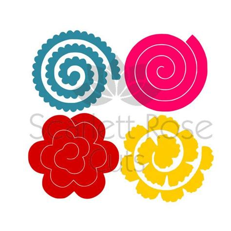 rolled paper roses template rolled paper flower 3d template svg dxf cut file for