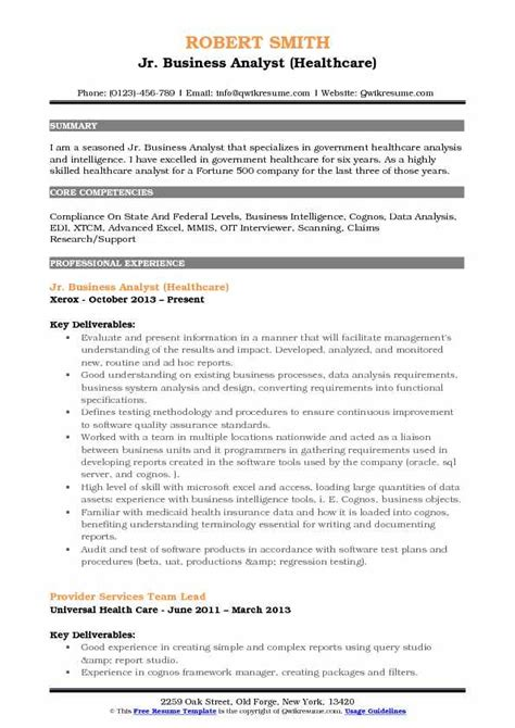 junior business analyst resume business analyst resume