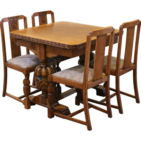 Vintage Dining Table Set Antique Draw Leaf Pub Dining Table And Chairs Set Carved Light Oak Sold On Ruby