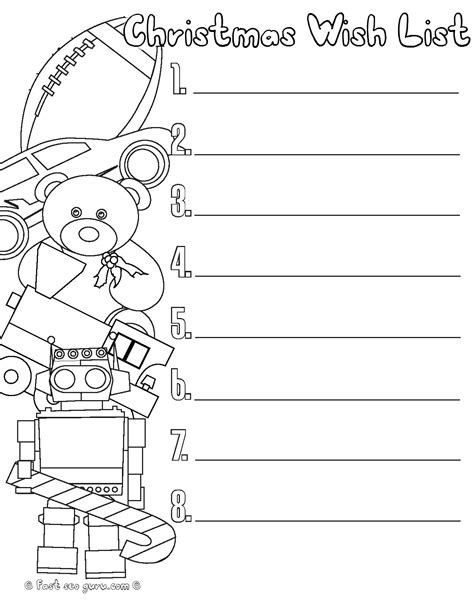 Coloring Pages Of Christmas List | printable christmas wishlist for santa