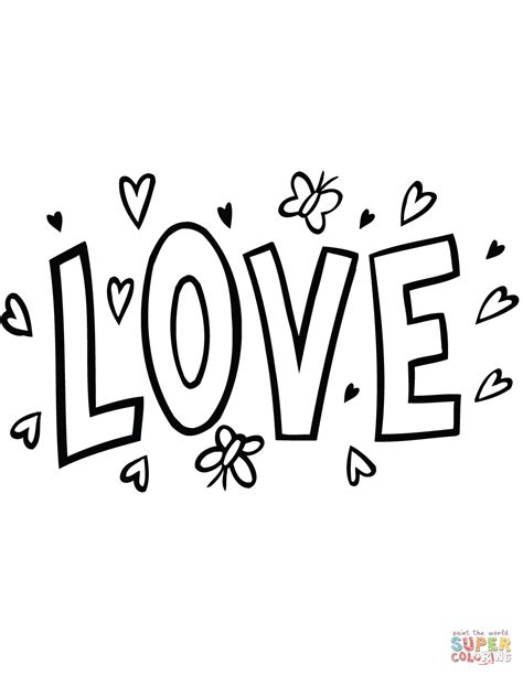 coloring pictures of love words love word drawing www imgkid com the image kid has it