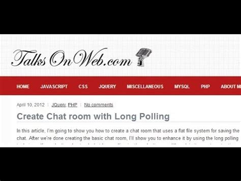 Create Chat Room create chat room in php polling part 1