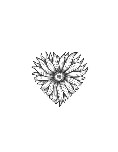 flower heart tattoo designs sunflower pinteres