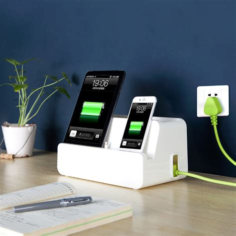 home cell phone charging station desktop mobile charging station powder strip organizing