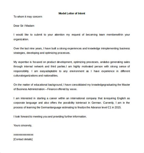 Letter Of Intent Sle South Africa 11 Letter Of Intent Templates Free Sle Exle Format Free Premium Templates