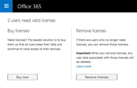 Office 365 Your Subscription Has Expired Screenshot Of The Resolve Licenses Page With Options To