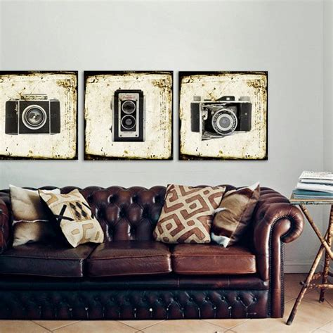 photography home decor set of three square canvases ready to hang vintage camera