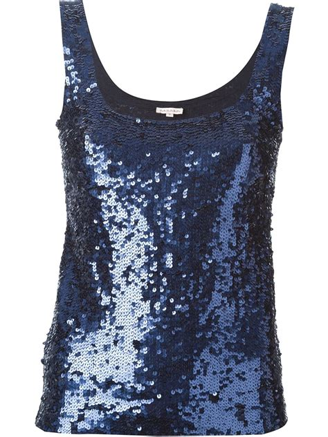 P A R O S H Top p a r o s h sequin embellished tank top in blue lyst