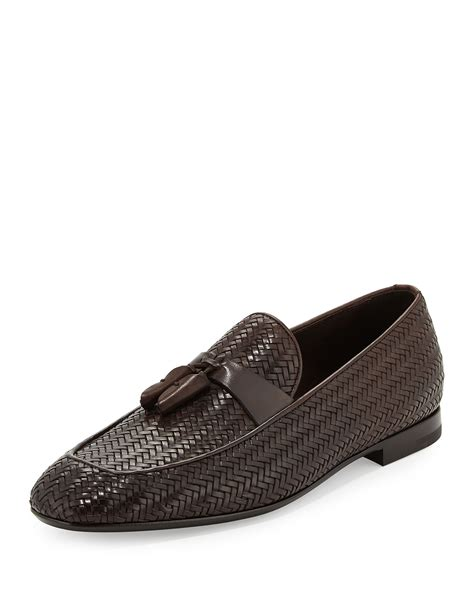 ermenegildo zegna loafers ermenegildo zegna woven tassel loafer in black for lyst