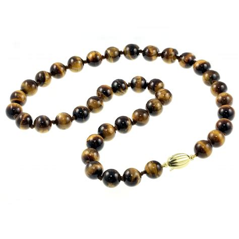 large bead necklace 9ct yellow gold 18 quot large tigers eye bead necklace from