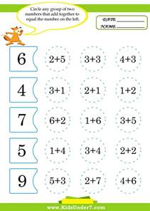 kids under 7 math worksheets