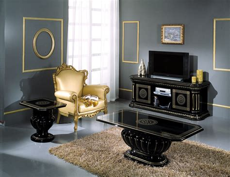 Black And Gold Living Room Furniture Rossella Italian Classic Dining Set
