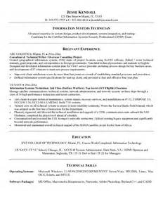 Information Systems Cover Letter by Computer Systems Technician Resume