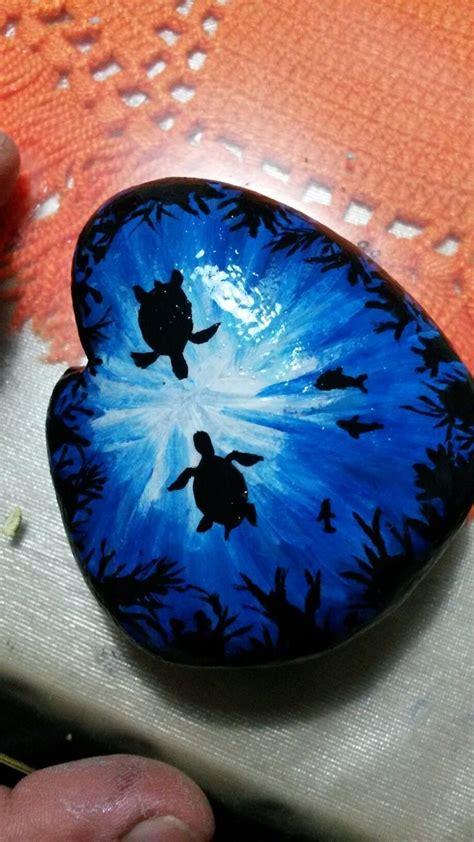 seascape  sea turtles  fish painted rock turtle