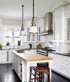 Kitchen With Butcher Block Island Butcher Block Island Cottage Kitchen Michael Robinson Photography