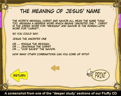 the meaning of the name fluffy and god s amazing adventure cd sunday