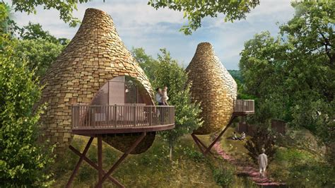 energy efficient bird nest shaped treehouses woodz