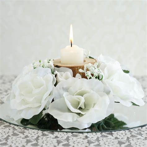 48 candle rings with silk roses wedding party flowers for