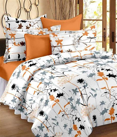 bed sheets and pillow covers always plus white gray floral cotton double bed sheet