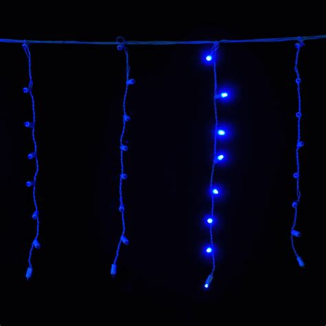 blue 8 ft 5c white wire 120 led chasing christmas icicle