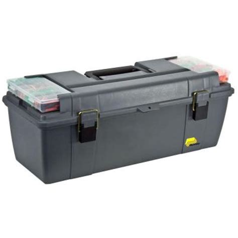 home depot tool box plano grab n go 26 in tool box with tray 682007 the