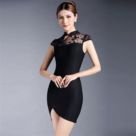 Sleeve Qipao enticing cap sleeve qipao cheongsam dress black