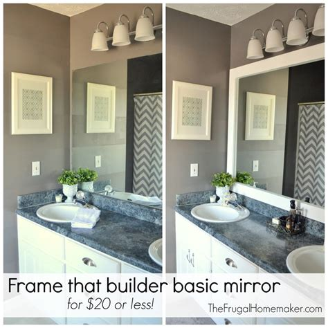 Frame Around Bathroom Mirror How To Frame Out That Builder Basic Bathroom Mirror For 20 Or Less