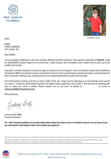 Thank You Letter After Acknowledgement Barth Foundation Thank You Letter Before And
