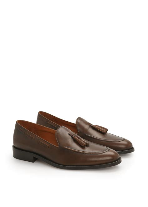leather loafers with tassels mango leather tassel loafers in brown for chocolate