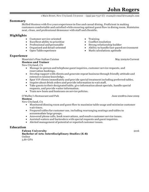 Hostess Description For Resume by Resume For Hostess Best Resume Gallery