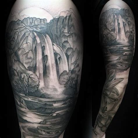 waterfall tattoos 90 landscape tattoos for scenic design ideas