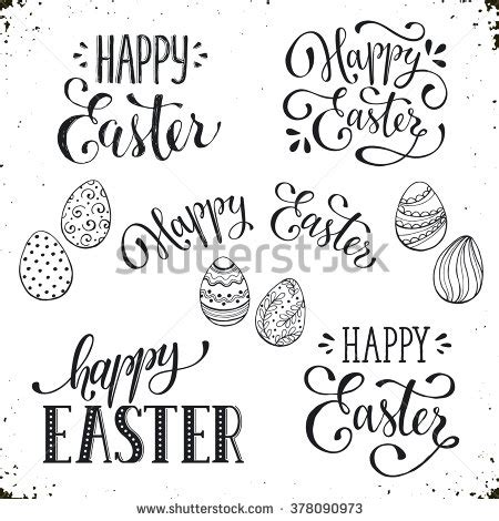printable easter fonts hand written easter phrases greeting card stock vector