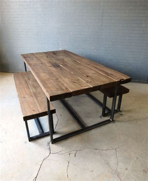 metal top dining table reclaimed industrial chic 6 8 seater solid wood and metal
