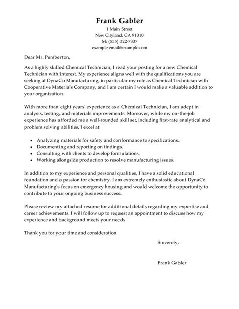 chemistry cover letter best chemical technicians cover letter exles livecareer