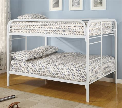 white full over full bunk beds dreamfurniture com youth full over full bunk bed in white