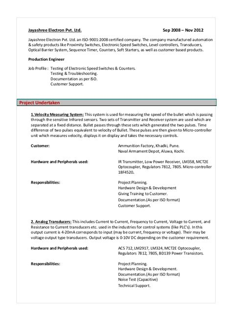 Sle Resume For Experienced Embedded Engineer Embedded Engineer Resume 2 Year Engineer Resume 2 Year 28 Images Sle Network Engineer Software