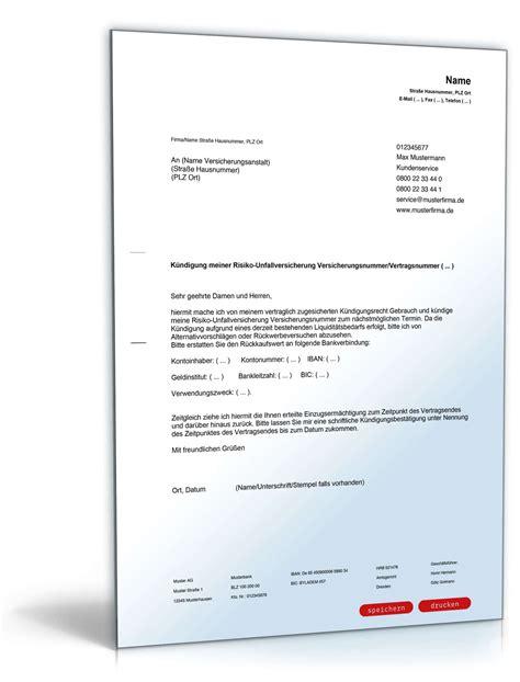 Muster Kündigung In Der Probezeit Arbeitnehmer K 252 Ndigung Risikounfallversicherung Vorlage Zum