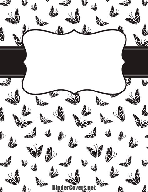 Black And White Binder Cover Templates by Printable Black And White Butterfly Binder Cover